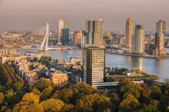 Aerial panorama of Rotterdam. Rotterdam, South Holland, Netherlands Stock Photo