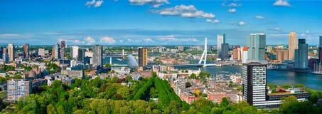 Aerial panorama of Rotterdam city and the Erasmus bridge. Erasmusbrug over Nieuwe Maas river from Euromast royalty free stock photos