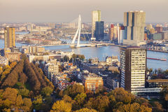 Aerial panorama of Rotterdam. Rotterdam, South Holland, Netherlands Royalty Free Stock Photography