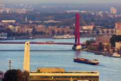 Aerial panorama of Rotterdam with Willemsbrug Bridge Royalty Free Stock Photography