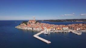 Aerial panorama of Rovinj, Croatia. Flight over harbor and old town Rovinj, Istria, Croatia stock video footage