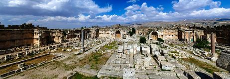 Aerial panorama of Ruins of Jupiter temple and great court of Heliopolis, Baalbek, Bekaa valley Lebanon Royalty Free Stock Image