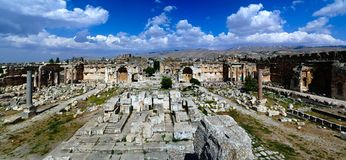 Aerial panorama of Ruins of Jupiter temple and great court of Heliopolis, Baalbek, Bekaa valley Lebanon Royalty Free Stock Photos
