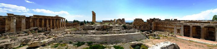 Aerial panorama of Ruins of Jupiter temple and great court of Heliopolis, Baalbek, Bekaa valley Lebanon. Aerial panorama of Ruins of Jupiter temple and great Royalty Free Stock Photo