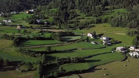 Aerial view of rural homes, Switzerland stock footage