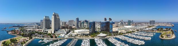 Aerial Panorama of the San Diego Waterfront royalty free stock image
