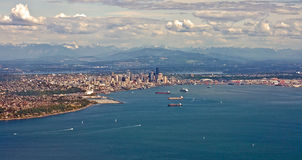 Aerial Panorama of Seattle Stock Images