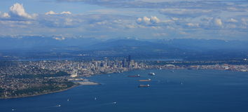 Aerial Panorama of Seattle. Aerial panoramic view of Seattle, Washington on a sunny day Royalty Free Stock Photography