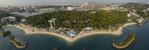 Aerial Panorama of Siloso Beach, at Sentosa Island Singapore royalty free stock photography