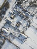 Aerial panorama - small houses and snow.  stock images