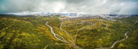 Aerial panorama of Snowy River and mountains in Australian Alps,. Australia Royalty Free Stock Images