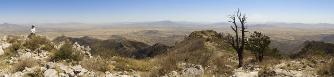 An Aerial Panorama of Sonora, Mexico, from Miller Peak. Huachuca Mountains, Arizona Stock Photography