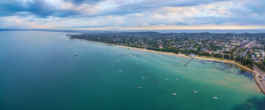 Aerial panorama of Sorrento suburb coastline with moored boats a. Nd beautiful turquoise water. Mornington Peninsula, Melbourne, Australia Stock Images