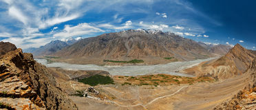Aerial panorama of Spiti valley and Key gompa in Himalayas Stock Image