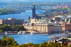 Aerial panorama of Stockholm, Sweden royalty free stock images