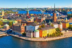 Aerial panorama of Stockholm, Sweden. Scenic summer aerial panorama of the Old Town (Gamla Stan) in Stockholm, Sweden stock photo