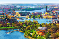 Aerial panorama of Stockholm, Sweden. Scenic summer aerial panorama of the Old Town (Gamla Stan) architecture in Stockholm, Sweden royalty free stock photo