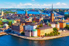 Aerial panorama of Stockholm, Sweden. Scenic summer aerial panorama of the Old Town Gamla Stan pier architecture in Stockholm, Sweden Stock Images