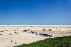 Aerial panorama of Stockton beach at midday. Anna Bay, New South Wales, Australia. Australian, background, beautiful, birubi, point, coast, desert, dune royalty free stock photo