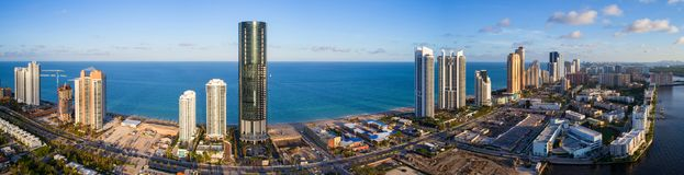 Aerial panorama Sunny Isles Beach and Atlantic Ocean Stock Photography