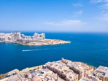 Aerial panorama sunrise photo - Ancient capital city of Valletta Royalty Free Stock Image