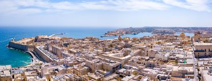 Aerial panorama sunrise photo - Ancient capital city of Valletta Stock Images