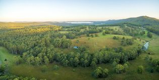 Aerial panorama of sunset over countryside. Aerial panorama of sunset over countryside near Topi Topi, NSW, Australia Royalty Free Stock Images