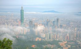 Aerial panorama of Taipei, the capital city of Taiwan, on a foggy morning stock image