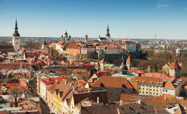 Aerial panorama town of Tallinn, Estonia Stock Images