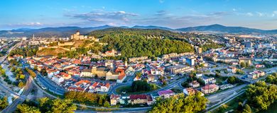 Aerial panorama of Trencin, a town in Slovakia Stock Photos