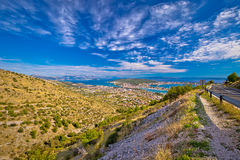 Aerial panorama of Trogir and Kastela bay Royalty Free Stock Photography