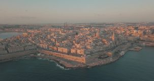 Aerial panorama view- Ancient capital city of Valletta. Malta with port, cathedral and old town. Island Country of Europe in the Mediterranean Sea stock video