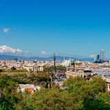 Aerial Panorama view of Barcelona city skyline over Passeig de C. Olom or Columbus avenue and Port Vell marina stock photo