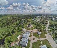 Aerial panorama view of the Church of the Sign of the Blessed Virgin Mary in Dubrovitsy, Moscow region. Podolsk royalty free stock photos