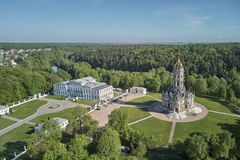Aerial panorama view of the Church of the Sign of the Blessed Virgin Mary in Dubrovitsy, Moscow region. Podolsk stock photo
