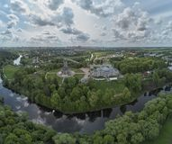 Aerial panorama view of the Church of the Sign of the Blessed Virgin Mary in Dubrovitsy, Moscow region. Podolsk stock photos