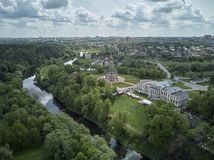 Aerial panorama view of the Church of the Sign of the Blessed Virgin Mary in Dubrovitsy, Moscow region. Podolsk royalty free stock photo