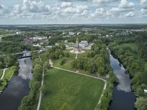 Aerial panorama view of the Church of the Sign of the Blessed Virgin Mary in Dubrovitsy, Moscow region. Podolsk royalty free stock image