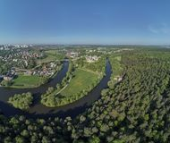 Aerial panorama view of the Church of the Sign of the Blessed Virgin Mary in Dubrovitsy, Moscow region. Podolsk stock photography