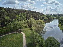 Aerial panorama view of the Church of the Sign of the Blessed Virgin Mary in Dubrovitsy, Moscow region. Podolsk royalty free stock photography