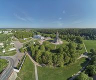 Aerial panorama view of the Church of the Sign of the Blessed Virgin Mary in Dubrovitsy, Moscow region. Podolsk stock images
