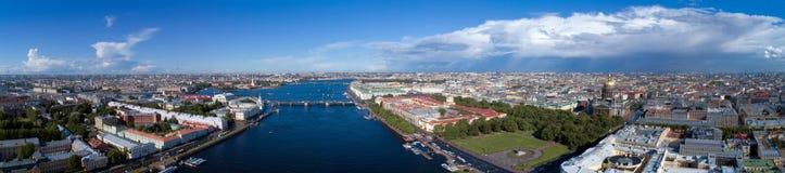 Aerial panorama of St. Petersburg center royalty free stock photo