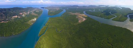 Aerial panorama view on estuaries and strait in Thailand. Aerial panorama view on estuaries and strait on Koh Lanta island, Thailand Stock Images