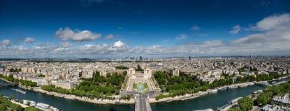 Aerial panorama view of Jardins du Trocad�ro and La Defense at Paris Stock Photos