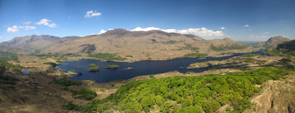 Aerial Panorama view Killarney National Park on the Ring of Kerry. Royalty Free Stock Photos