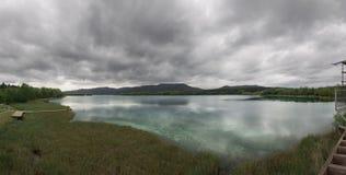 Aerial panorama view of Lake Banyoles in Spain Stock Photos