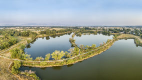 Aerial panorama view of lakes in northern Colorado Royalty Free Stock Image