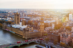 Aerial panorama view on London. View towards Houses of Parliamen Royalty Free Stock Photo