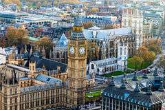 Aerial panorama view on London. View towards Houses of Parliamen Stock Photos