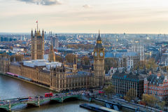Aerial panorama view on London. View towards Houses of Parliamen Royalty Free Stock Photography